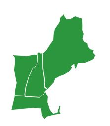 Green outline of 4 states - ME, NH, VT, MA